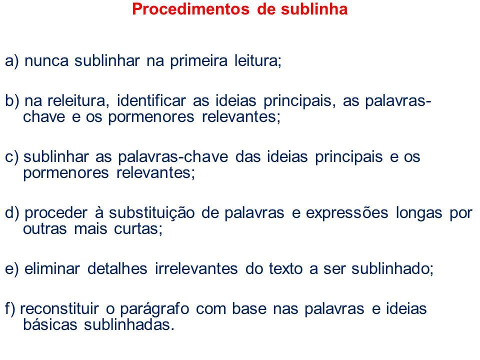 Procedimentos de sublinha a) nunca sublinhar na primeira leitura; b) na releitura, identificar as ideias principais, as palavras- chave e os pormenore