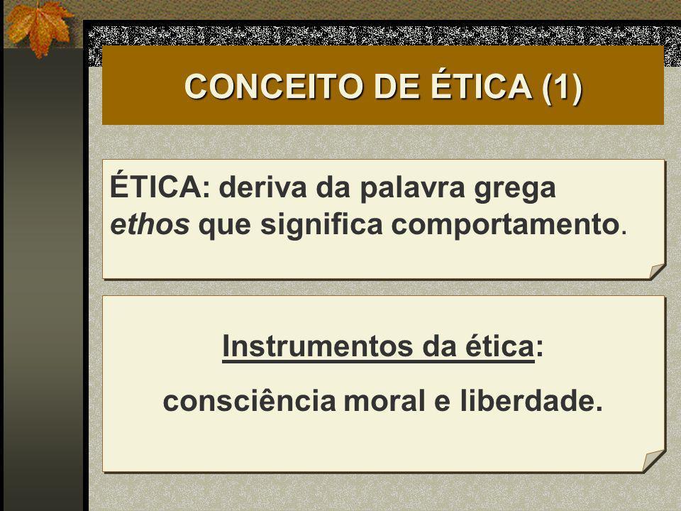 CONCEITO DE ÉTICA (1) ÉTICA: deriva da palavra grega ethos que significa comportamento. Instrumentos da ética: consciência moral e liberdade.