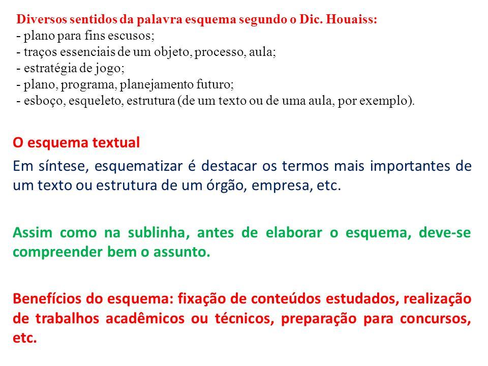 O esquema textual Em síntese, esquematizar é destacar os termos mais importantes de um texto ou estrutura de um órgão, empresa, etc. Assim como na sub