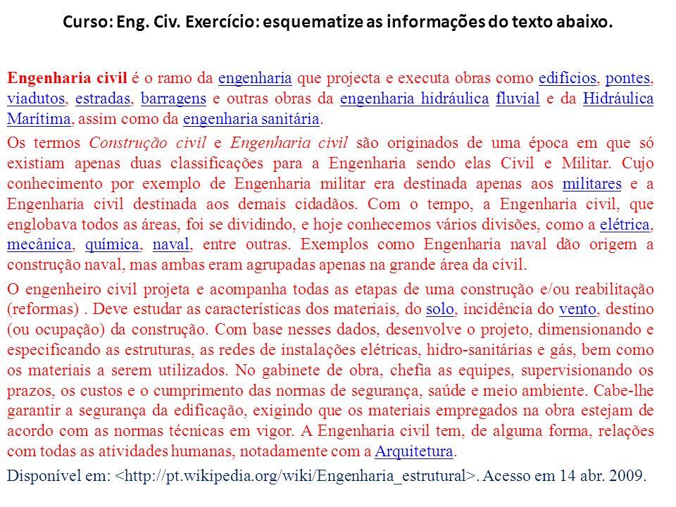 Curso: Eng. Civ. Exercício: esquematize as informações do texto abaixo. Engenharia civil é o ramo da engenharia que projecta e executa obras como edif