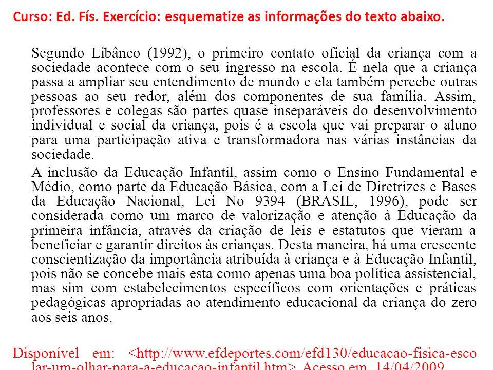 Curso: Ed. Fís. Exercício: esquematize as informações do texto abaixo. Segundo Libâneo (1992), o primeiro contato oficial da criança com a sociedade a