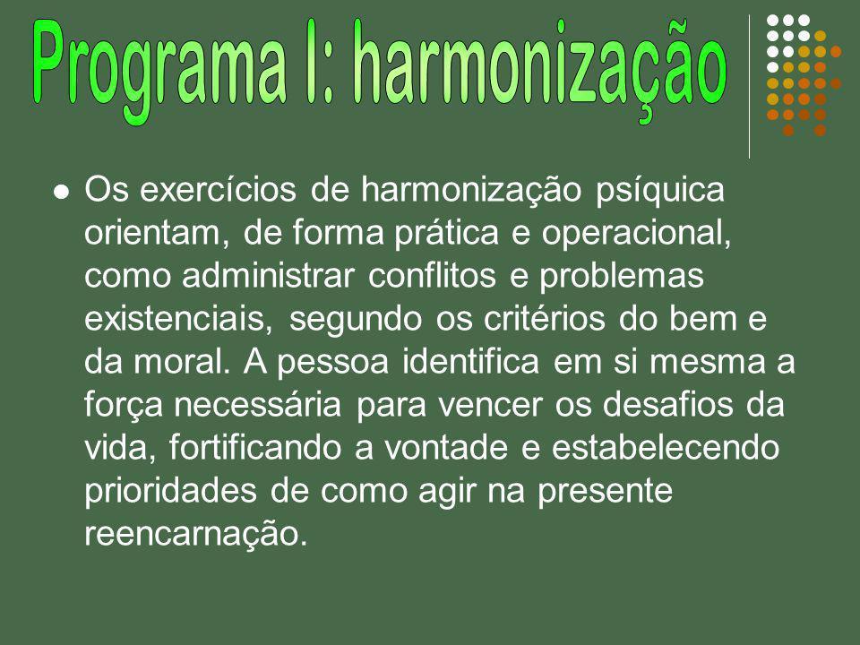 Os exercícios de harmonização psíquica orientam, de forma prática e operacional, como administrar conflitos e problemas existenciais, segundo os crité
