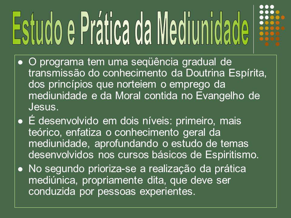 O programa tem uma seqüência gradual de transmissão do conhecimento da Doutrina Espírita, dos princípios que norteiem o emprego da mediunidade e da Mo