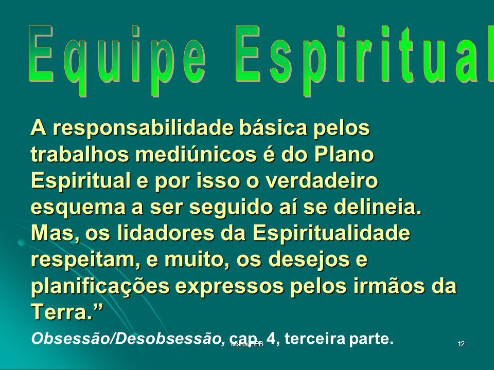 Marta/FEB12 A responsabilidade básica pelos trabalhos mediúnicos é do Plano Espiritual e por isso o verdadeiro esquema a ser seguido aí se delineia. M