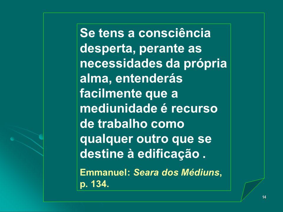 Marta/FEB14 Se tens a consciência desperta, perante as necessidades da própria alma, entenderás facilmente que a mediunidade é recurso de trabalho com