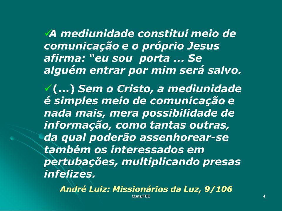 Marta/FEB4 A mediunidade constitui meio de comunicação e o próprio Jesus afirma: eu sou porta... Se alguém entrar por mim será salvo. (...) Sem o Cris