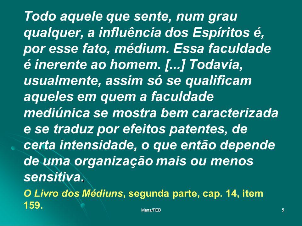Marta/FEB6 Os médiuns são os intérpretes dos Espíritos.