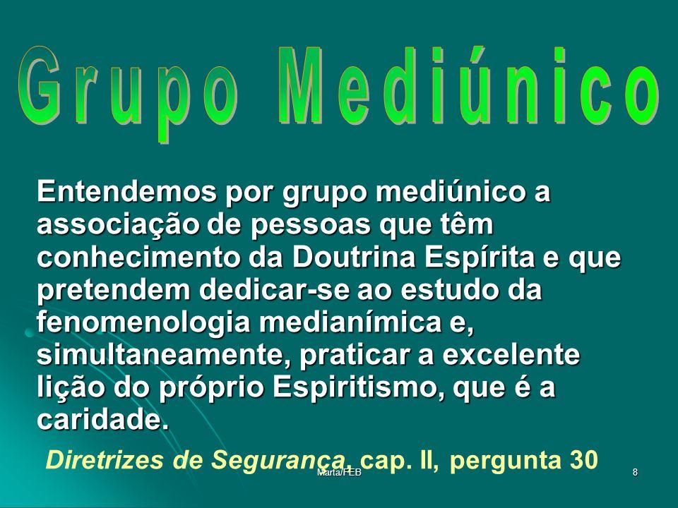 Marta/FEB8 Entendemos por grupo mediúnico a associação de pessoas que têm conhecimento da Doutrina Espírita e que pretendem dedicar-se ao estudo da fe