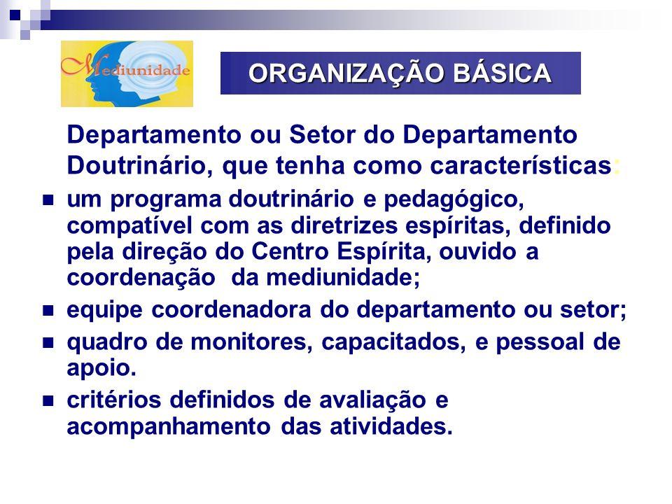 ORGANIZAÇÃO BÁSICA Departamento ou Setor do Departamento Doutrinário, que tenha como características : um programa doutrinário e pedagógico, compatíve