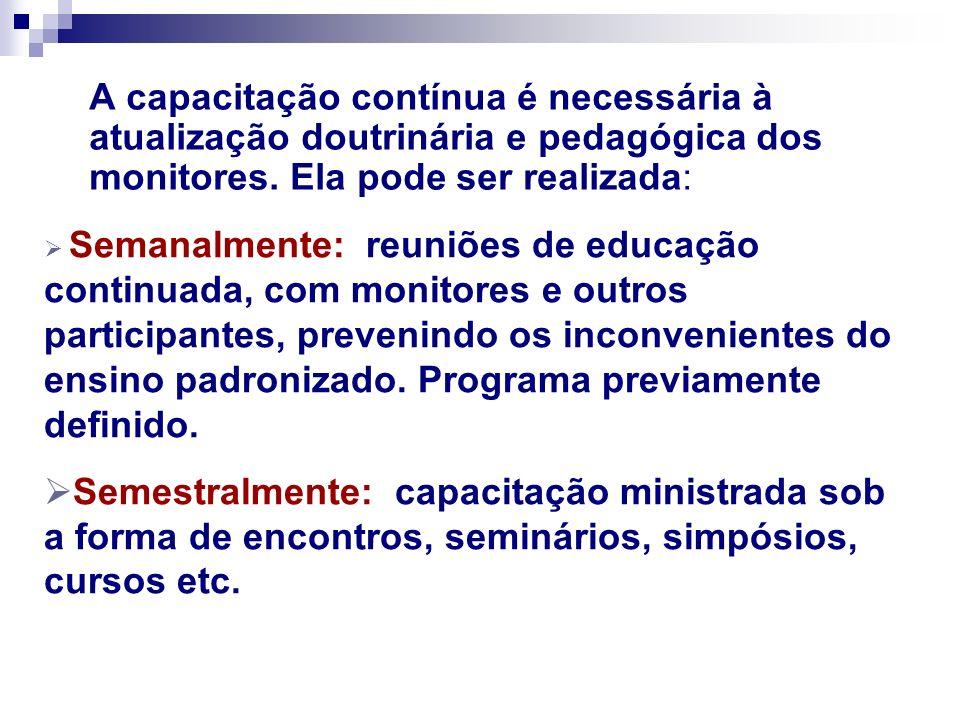 A capacitação contínua é necessária à atualização doutrinária e pedagógica dos monitores. Ela pode ser realizada: Semanalmente: reuniões de educação c