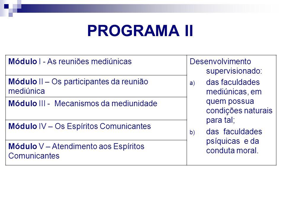 Módulo I - As reuniões mediúnicasDesenvolvimento supervisionado: a) das faculdades mediúnicas, em quem possua condições naturais para tal; b) das facu