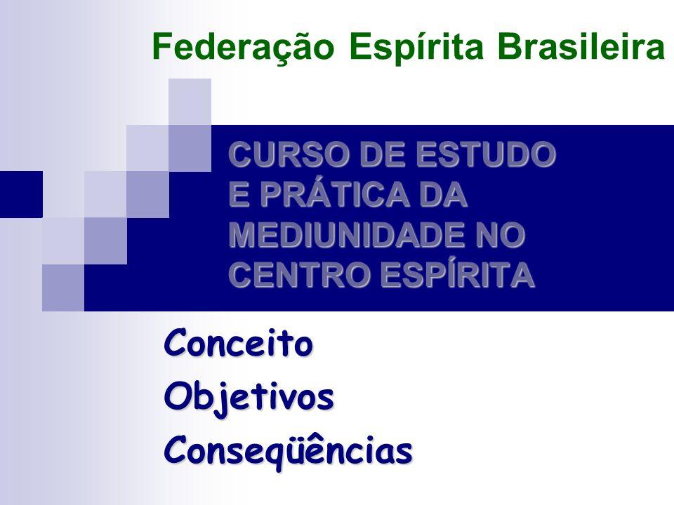 CURSO DE ESTUDO E PRÁTICA DA MEDIUNIDADE NO CENTRO ESPÍRITA ConceitoObjetivosConseqüências Federação Espírita Brasileira