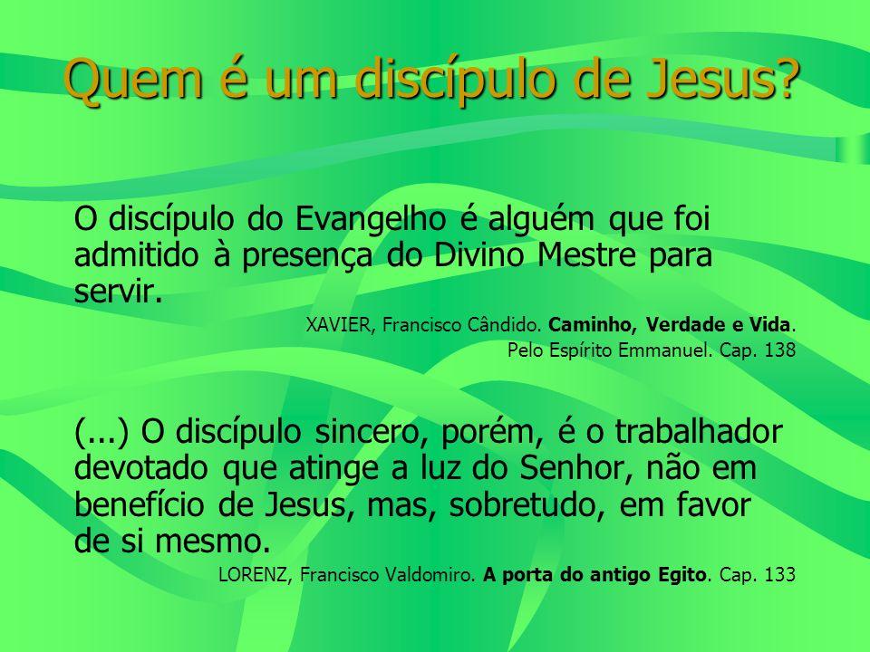 Quem é um discípulo de Jesus? O discípulo do Evangelho é alguém que foi admitido à presença do Divino Mestre para servir. XAVIER, Francisco Cândido. C