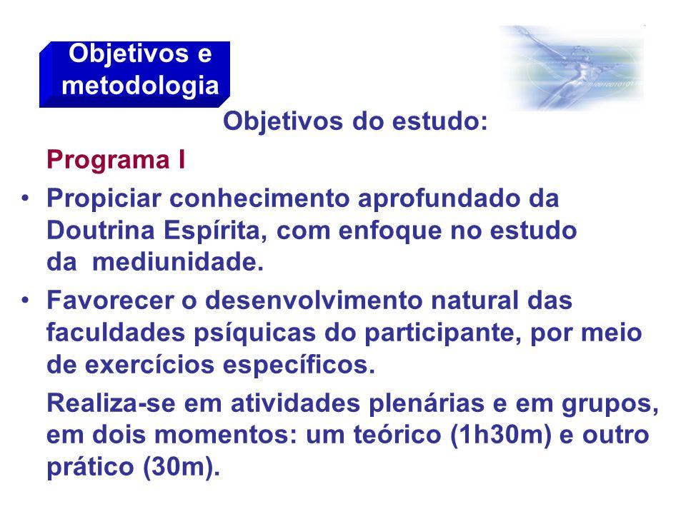 Objetivos do estudo: Programa I Propiciar conhecimento aprofundado da Doutrina Espírita, com enfoque no estudo da mediunidade. Favorecer o desenvolvim