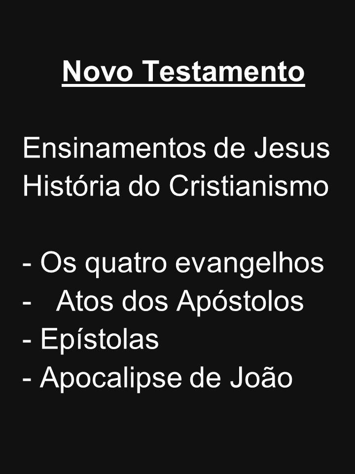 Novo Testamento Ensinamentos de Jesus História do Cristianismo -Os quatro evangelhos - Atos dos Apóstolos -Epístolas -Apocalipse de João
