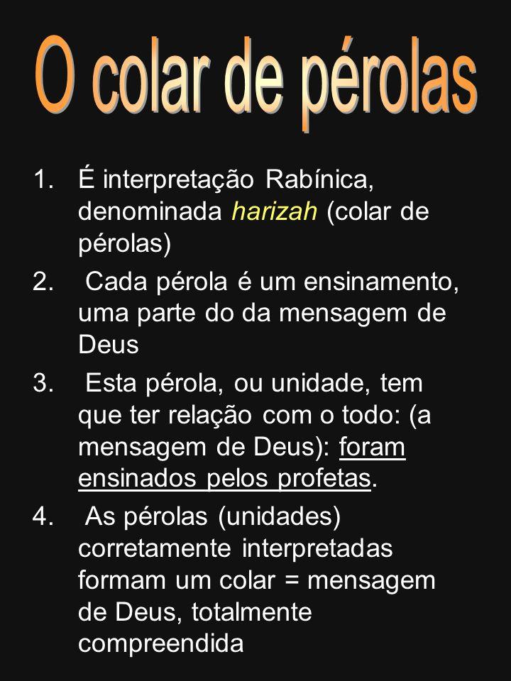 1.É interpretação Rabínica, denominada harizah (colar de pérolas) 2. Cada pérola é um ensinamento, uma parte do da mensagem de Deus 3. Esta pérola, ou
