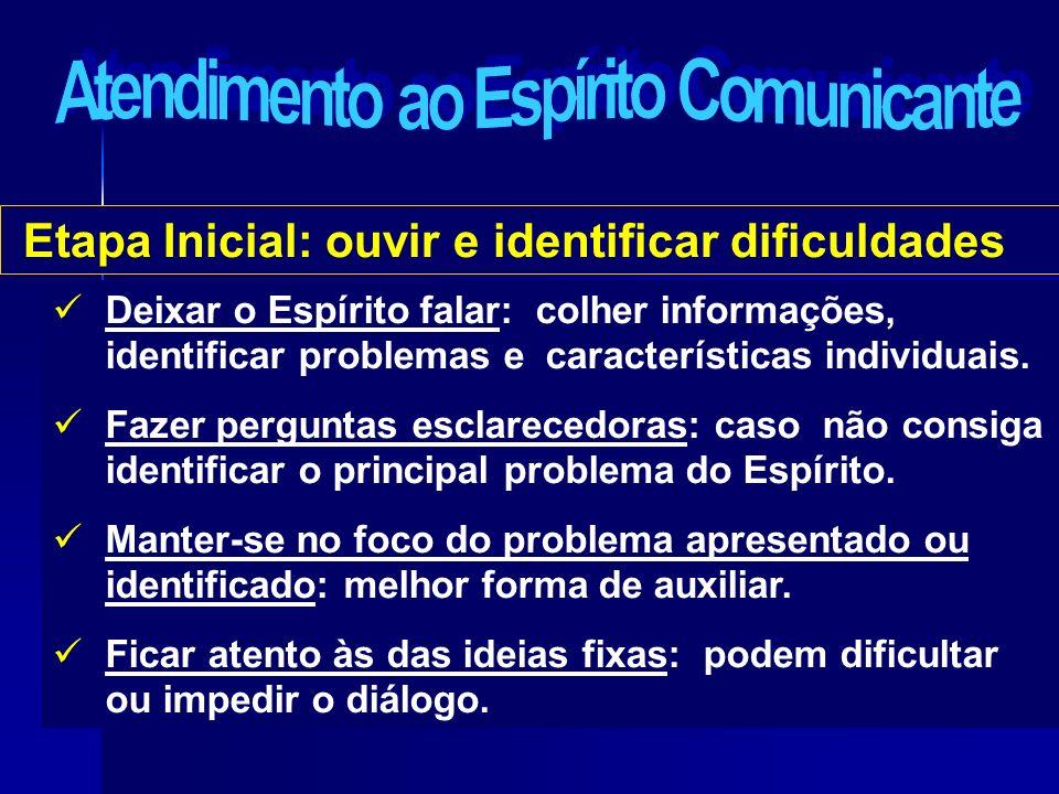 Etapa Inicial: ouvir e identificar dificuldades Deixar o Espírito falar: colher informações, identificar problemas e características individuais. Faze