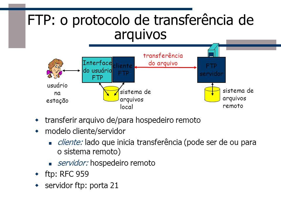 FTP: conexões separadas p/ controle, dados cliente FTP contata servidor FTP na porta 21, especificando o TCP como protocolo de transporte O cliente obtém autorização através da conexão de controle O cliente consulta o diretório remoto enviando comandos através da conexão de controle Quando o servidor recebe um comando para a transferência de um arquivo, ele abre uma conexão de dados TCP para o cliente Após a transmissão de um arquivo o servidor fecha a conexão O servidor abre uma segunda conexão TCP para transferir outro arquivo Conexão de controle: fora da faixa Servidor FTP mantém o estado: diretório atual, autenticação anterior cliente FTP servidor FTP conexão de controle TCP, porta 21 conexão de dados TCP, porta 20