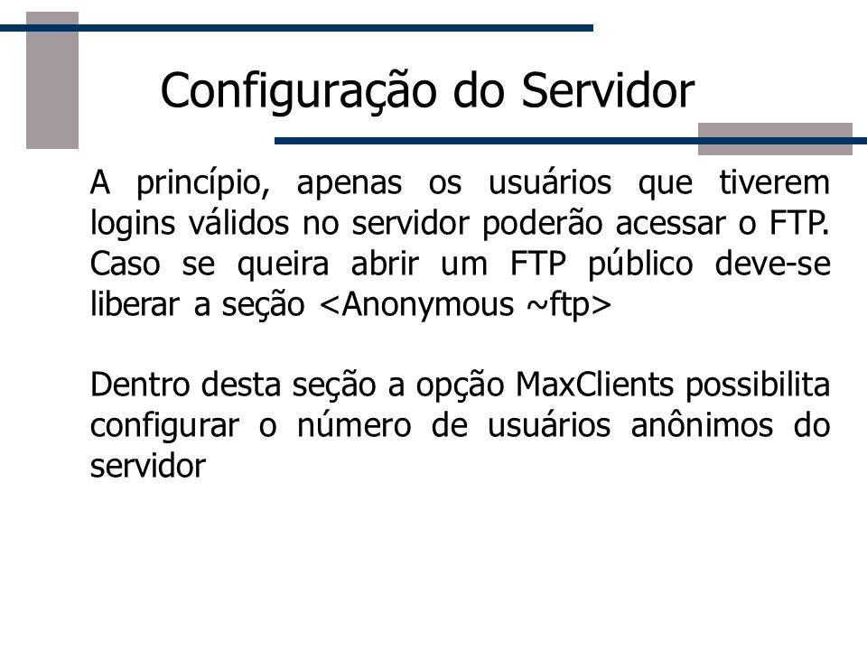 Configuração do Servidor A princípio, apenas os usuários que tiverem logins válidos no servidor poderão acessar o FTP. Caso se queira abrir um FTP púb