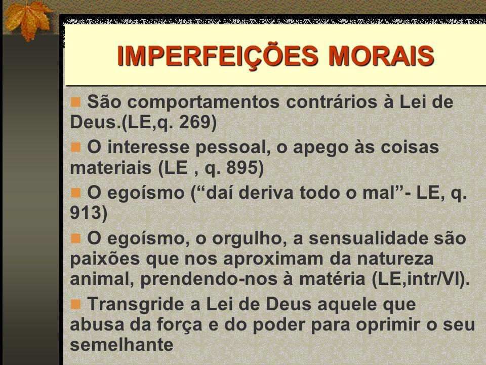 IMPERFEIÇÕES MORAIS São comportamentos contrários à Lei de Deus.(LE,q. 269) O interesse pessoal, o apego às coisas materiais (LE, q. 895) O egoísmo (d