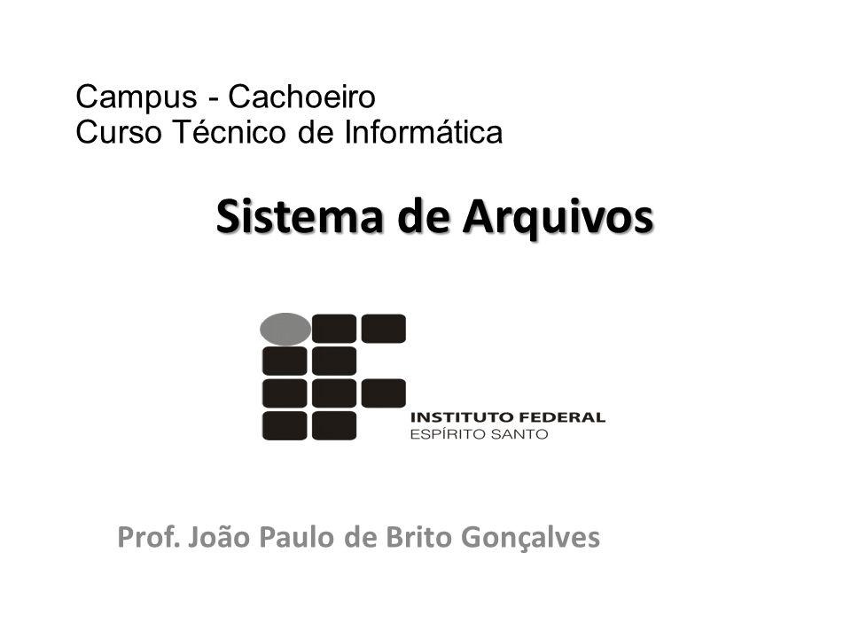 Prof. João Paulo de Brito Gonçalves Sistema de Arquivos Campus - Cachoeiro Curso Técnico de Informática