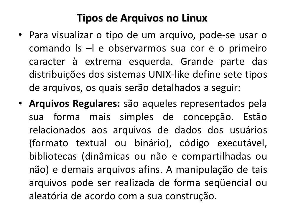 Tipos de Arquivos no Linux Para visualizar o tipo de um arquivo, pode-se usar o comando ls –l e observarmos sua cor e o primeiro caracter à extrema es