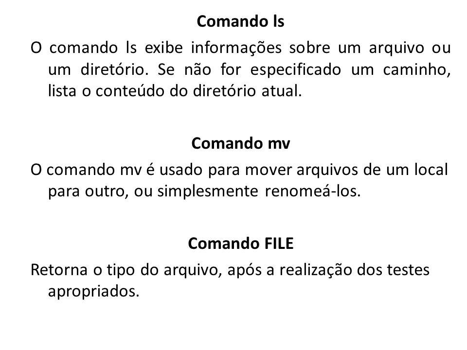 Comando ls O comando ls exibe informações sobre um arquivo ou um diretório. Se não for especificado um caminho, lista o conteúdo do diretório atual. C
