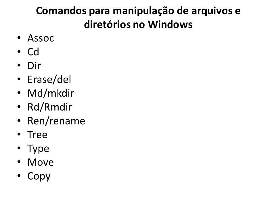 Comandos para manipulação de arquivos e diretórios no Windows Assoc Cd Dir Erase/del Md/mkdir Rd/Rmdir Ren/rename Tree Type Move Copy