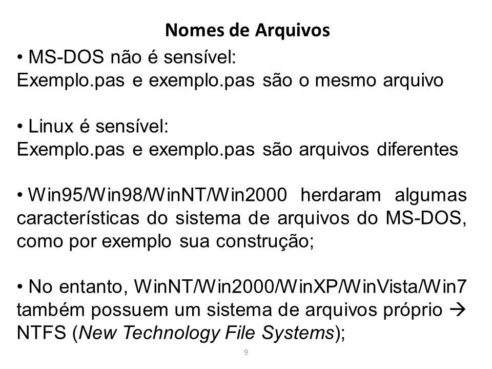 9 Nomes de Arquivos MS-DOS não é sensível: Exemplo.pas e exemplo.pas são o mesmo arquivo Linux é sensível: Exemplo.pas e exemplo.pas são arquivos dife