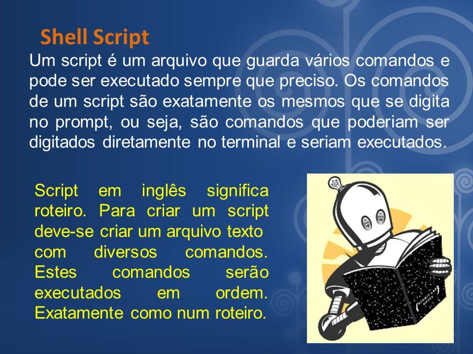 Shell Script Um script é um arquivo que guarda vários comandos e pode ser executado sempre que preciso. Os comandos de um script são exatamente os mes