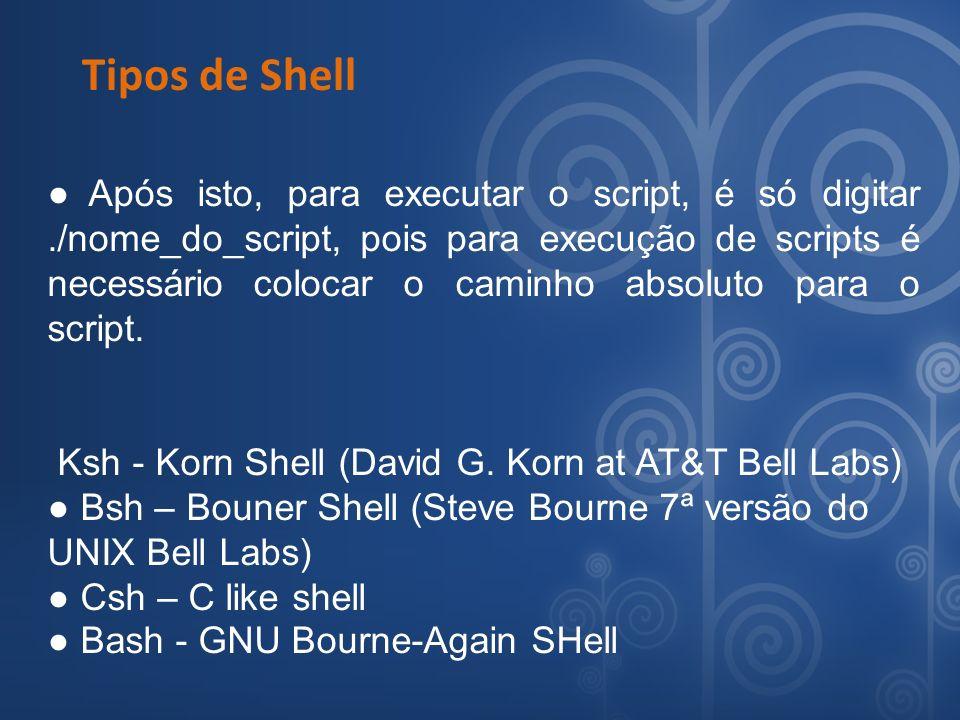 Tipos de Shell Após isto, para executar o script, é só digitar./nome_do_script, pois para execução de scripts é necessário colocar o caminho absoluto