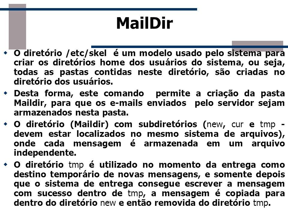 MailDir O diretório /etc/skel é um modelo usado pelo sistema para criar os diretórios home dos usuários do sistema, ou seja, todas as pastas contidas
