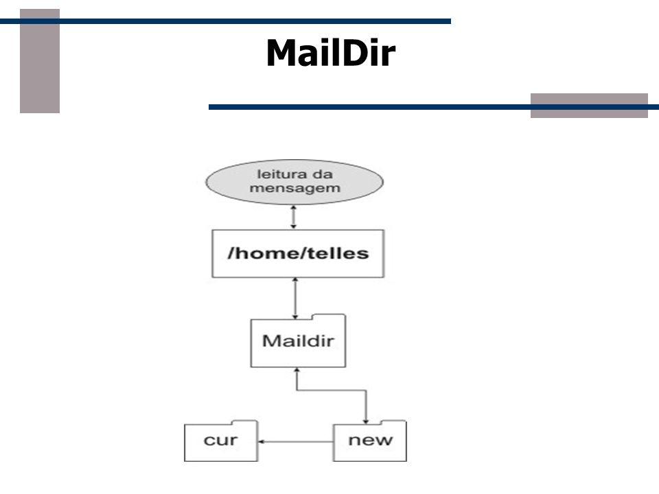 Cotas no MailDir As cotas no MailDir podem ser estabelecidas de duas formas: -Usando um sistema de cotas normal, via comando edquota - Estabelecendo cotas via comando Maildirmake usando o comando: - maildirmake -q 5000000S,1000C./Maildir Este comando configura a cota de um diretório Maildir de um usuário, com 5MB aproxidamente, ou 1000 mensagens diferentes.
