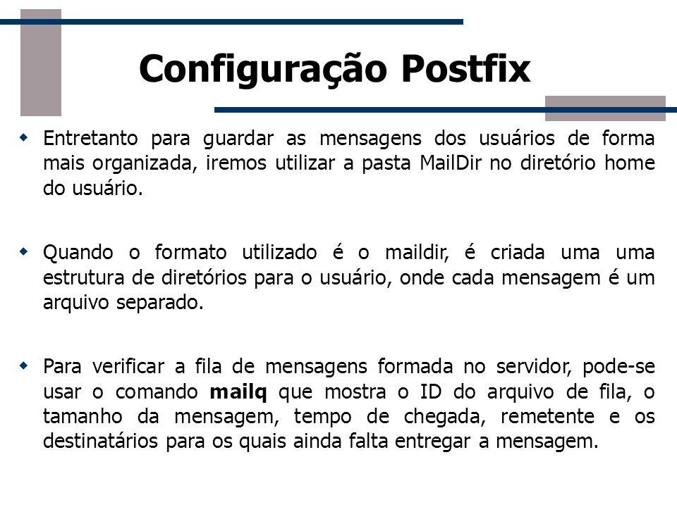 Configuração Básica Myhostname: nome do host onde o Postfix é executado.