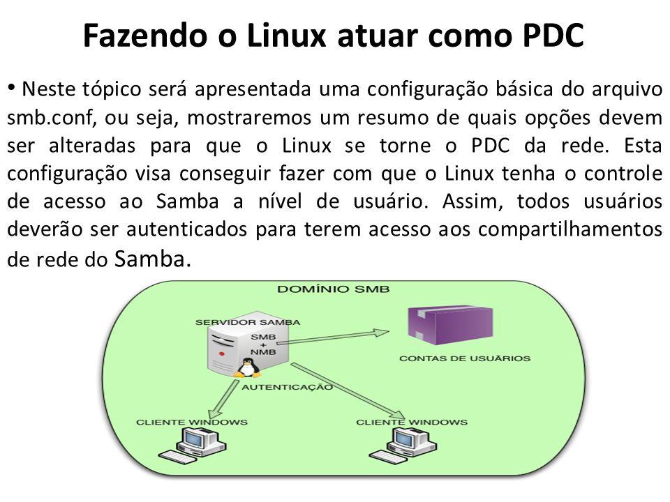 Fazendo o Linux atuar como PDC Neste tópico será apresentada uma configuração básica do arquivo smb.conf, ou seja, mostraremos um resumo de quais opçõ