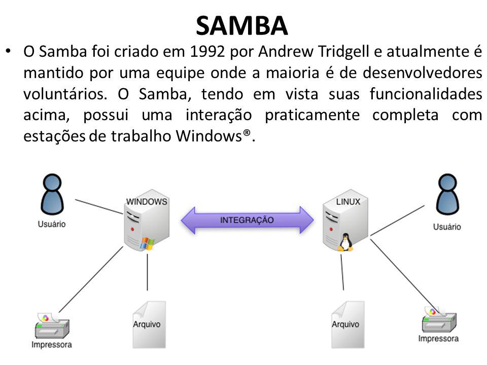 SAMBA O Samba foi criado em 1992 por Andrew Tridgell e atualmente é mantido por uma equipe onde a maioria é de desenvolvedores voluntários. O Samba, t