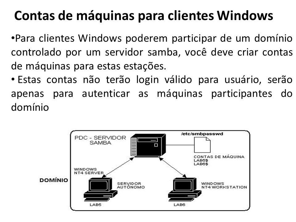 Contas de máquinas para clientes Windows Para clientes Windows poderem participar de um domínio controlado por um servidor samba, você deve criar cont