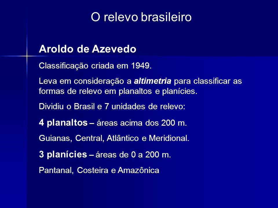 O relevo brasileiro Aroldo de Azevedo Classificação criada em 1949. Leva em consideração a altimetria para classificar as formas de relevo em planalto