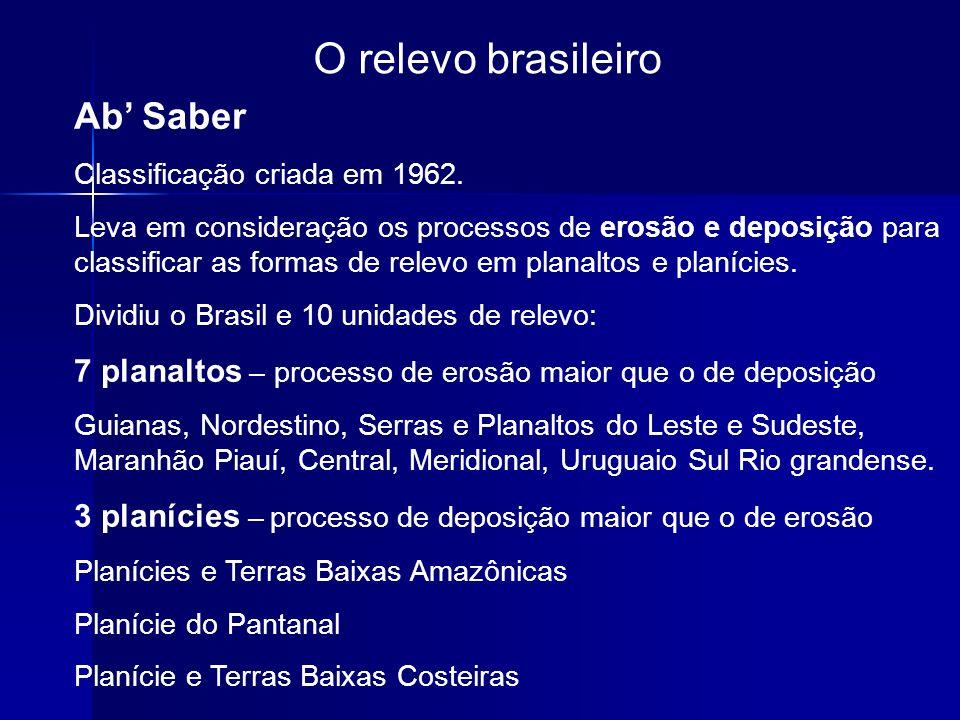 O relevo brasileiro Ab Saber Classificação criada em 1962. Leva em consideração os processos de erosão e deposição para classificar as formas de relev