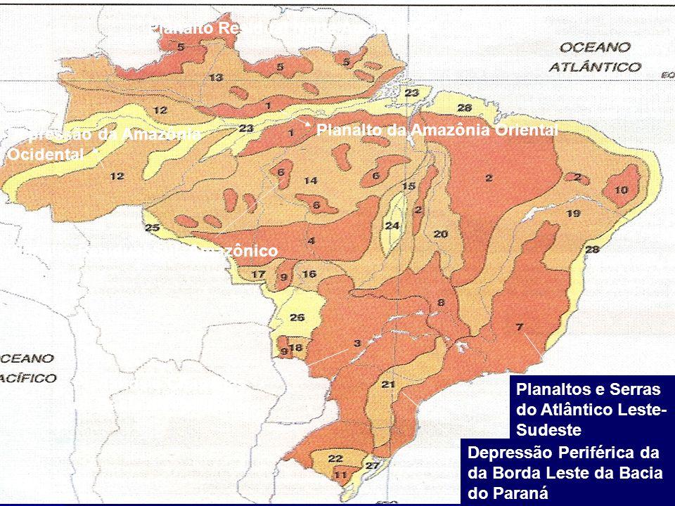 Planalto Residual Norte Amazônico Planalto Residual Sul- Amazônico Depressão da Amazônia Ocidental Planalto da Amazônia Oriental Planaltos e Chapadas