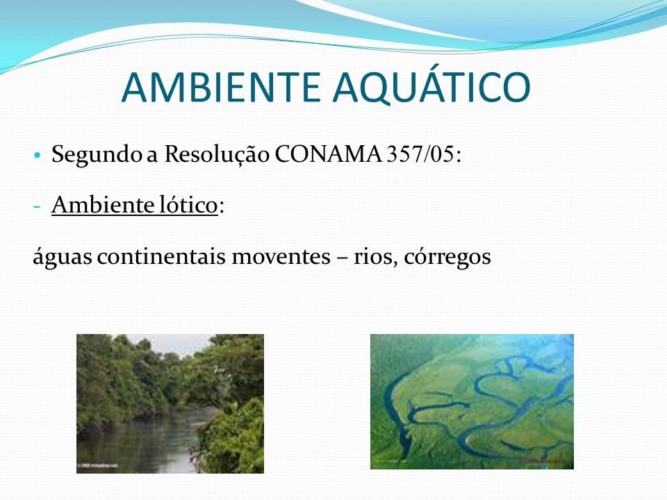 AMBIENTE AQUÁTICO Segundo a Resolução CONAMA 357/05 : - Ambiente lótico: águas continentais moventes – rios, córregos