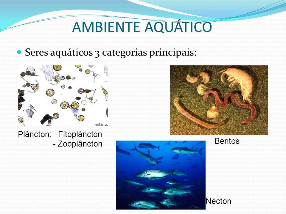 Seres aquáticos 3 categorias principais: AMBIENTE AQUÁTICO Plâncton: - Fitoplâncton - Zooplâncton Nécton Bentos