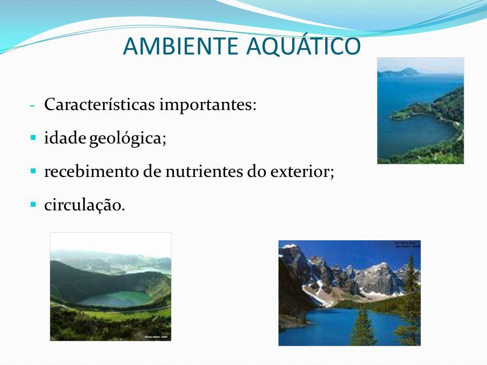 - Características importantes: idade geológica; recebimento de nutrientes do exterior; circulação. AMBIENTE AQUÁTICO