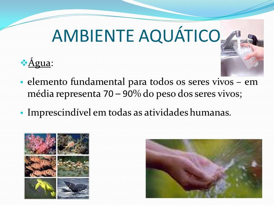 AMBIENTE AQUÁTICO Água: elemento fundamental para todos os seres vivos – em média representa 70 – 90% do peso dos seres vivos; Imprescindível em todas