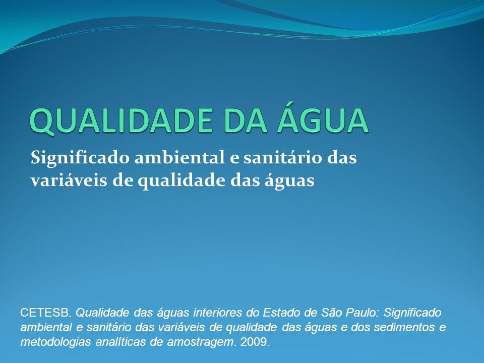 Significado ambiental e sanitário das variáveis de qualidade das águas CETESB. Qualidade das águas interiores do Estado de São Paulo: Significado ambi