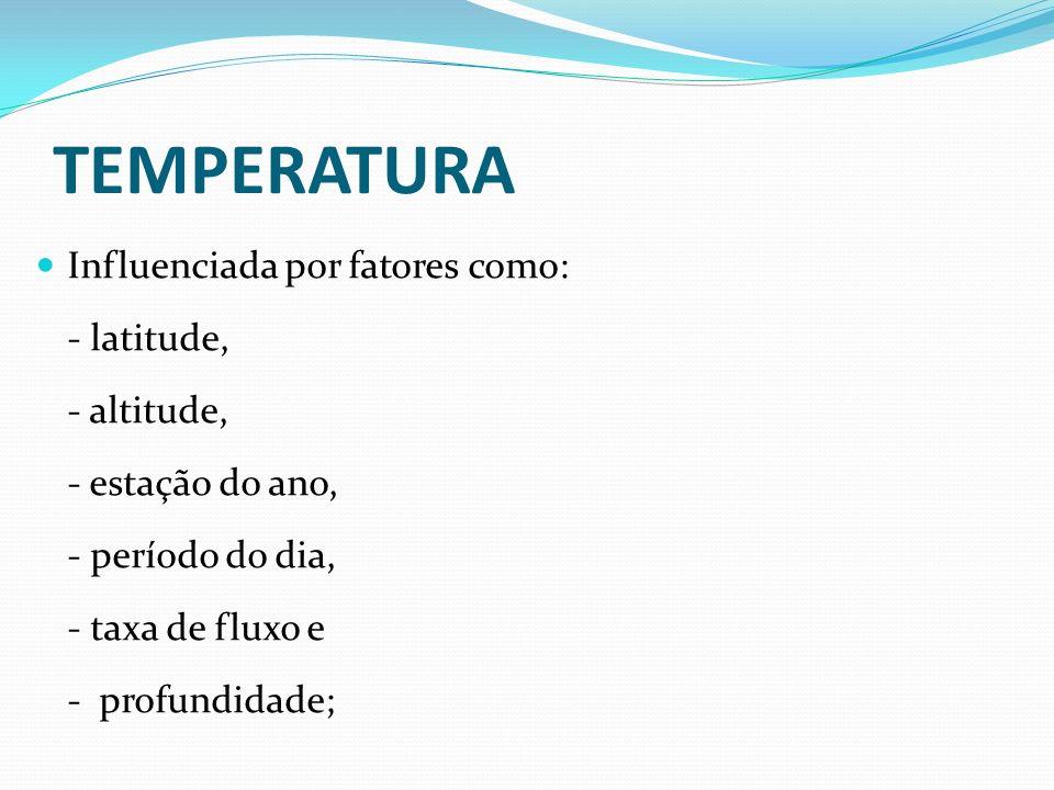 TEMPERATURA Influenciada por fatores como: - latitude, - altitude, - estação do ano, - período do dia, - taxa de fluxo e - profundidade;