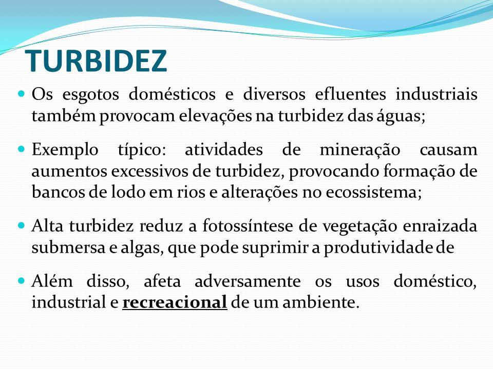 TURBIDEZ Os esgotos domésticos e diversos efluentes industriais também provocam elevações na turbidez das águas; Exemplo típico: atividades de mineraç