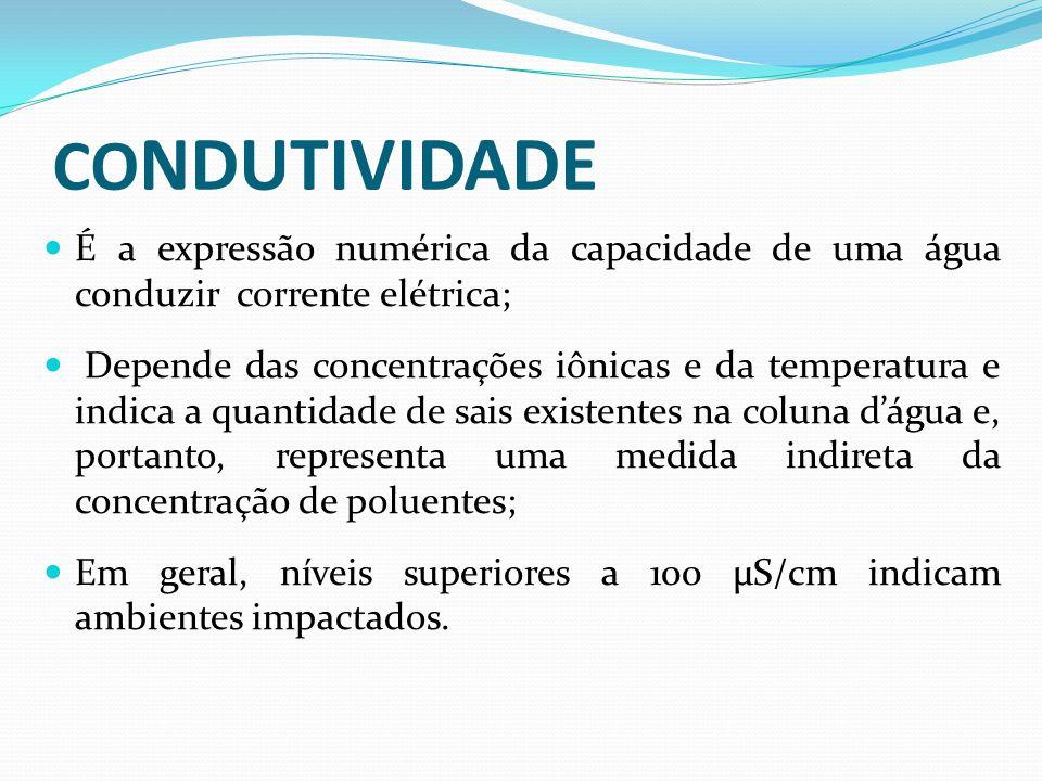 CO NDUTIVIDADE É a expressão numérica da capacidade de uma água conduzir corrente elétrica; Depende das concentrações iônicas e da temperatura e indic