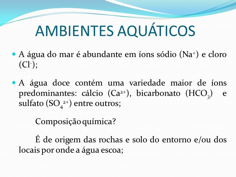 AMBIENTES AQUÁTICOS A água do mar é abundante em íons sódio (Na + ) e cloro (Cl - ); A água doce contém uma variedade maior de íons predominantes: cál