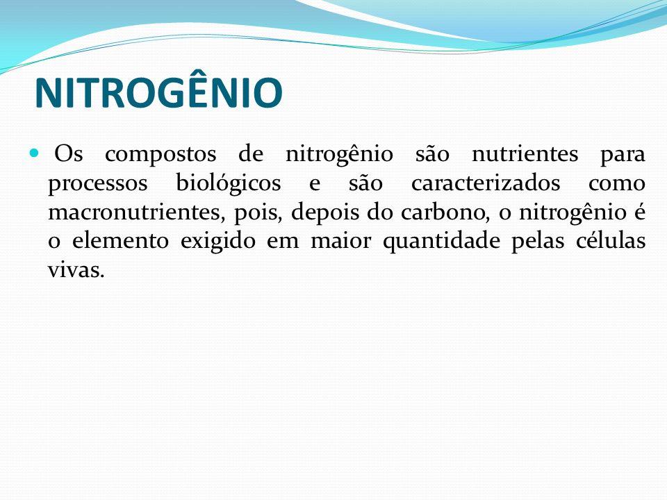 NITROGÊNIO Os compostos de nitrogênio são nutrientes para processos biológicos e são caracterizados como macronutrientes, pois, depois do carbono, o n